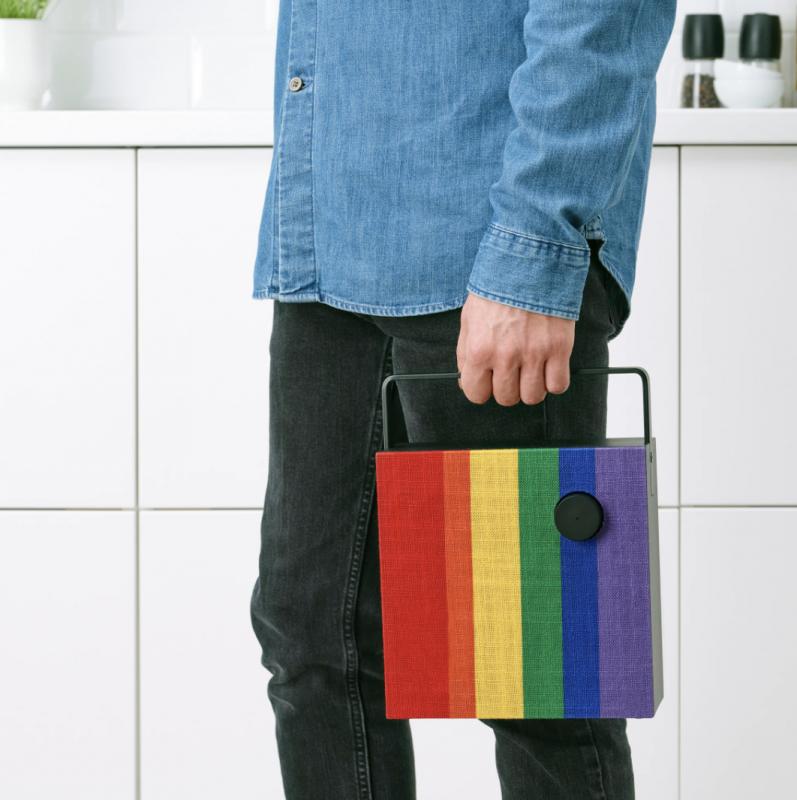 Cache-enceinte ENEBY arc-en-ciel rainbow IKEA pour L'Autre Cercle